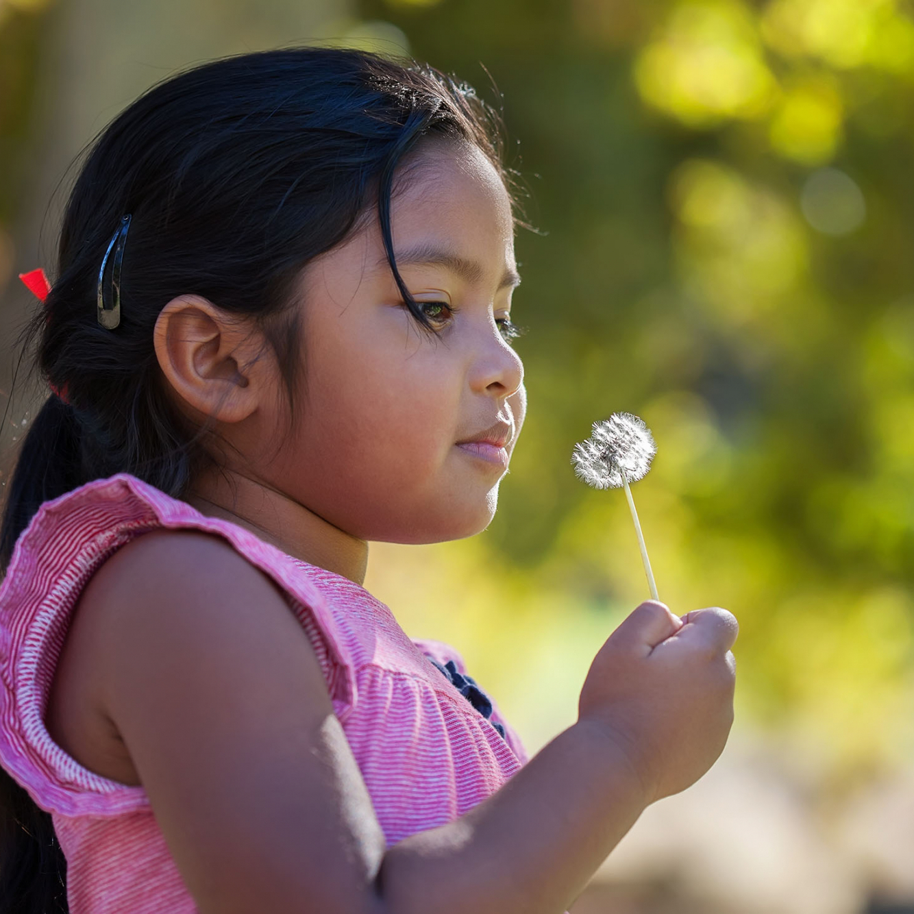 A thouthful little kid holding a dandelion in her hand that is close to her face and surrounded by green foliage.